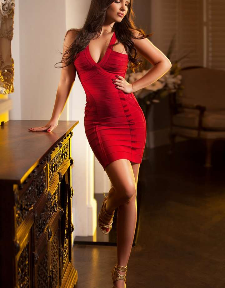 Elegant brunette Padding Escort  with long hair and high heels in a chic red dress standing