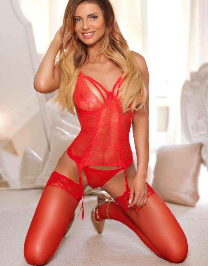 Brunette Central London Escort in sexy red lingerie